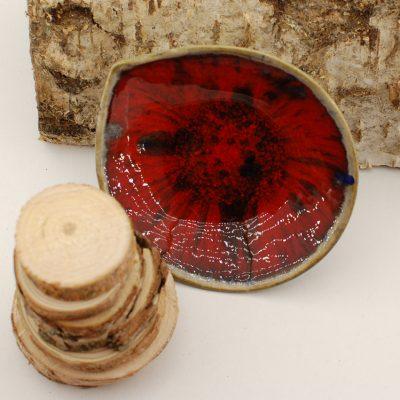 MISECZKA asymetryczna w marsowej czerwieni z odrobiną czerni i granatu