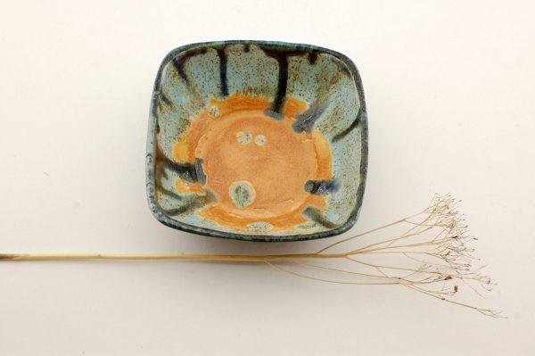 MISECZKA kwadratowa - pomarańcz, turkus, srebrny błękit