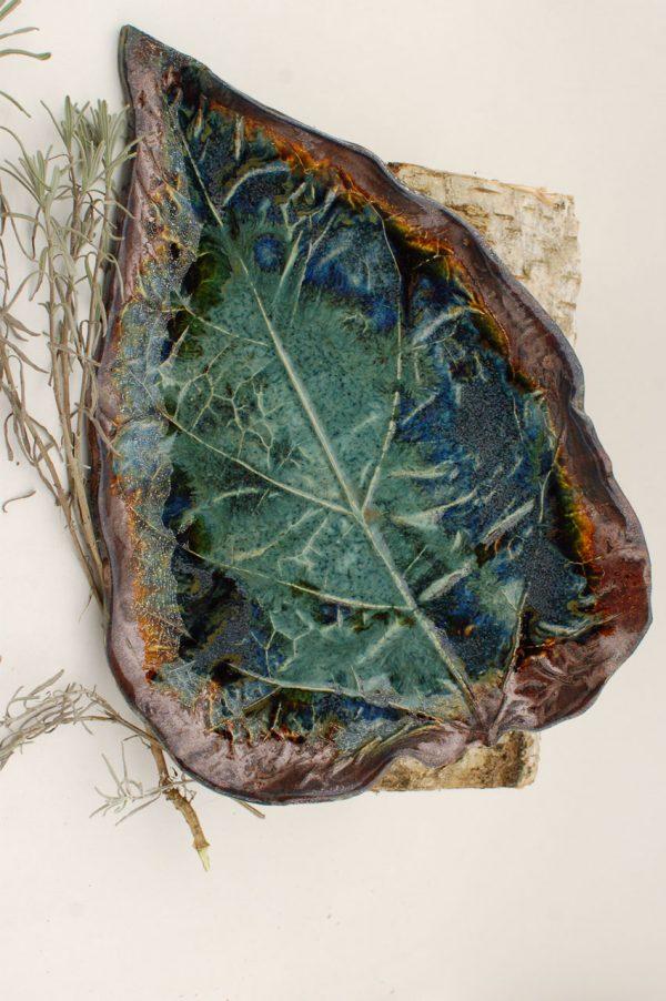 PATERA - liść katalpy w odcieniach turkusu, z autorskiej kolekcji