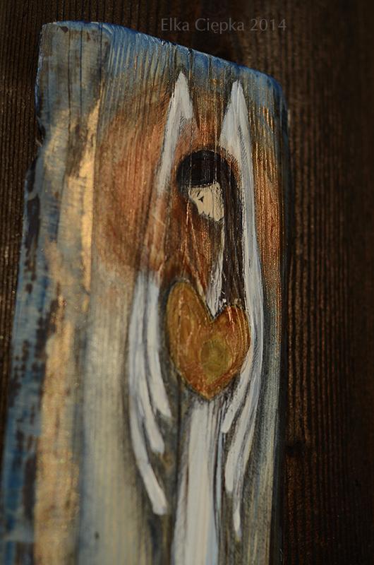 Anioł Wielkiego Serca - doskonały jako podziękowanie Pary Młodej dla Rodziców| Angel painted on wood