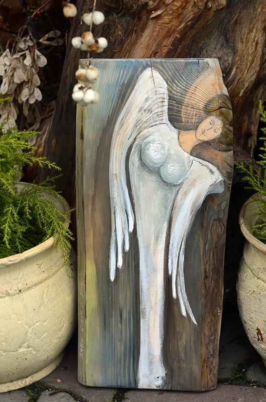 Anioł Obfitości - autor: Elka Ciępka  Angel painted on wood