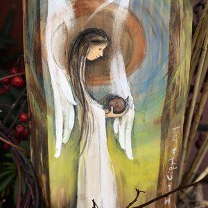 Anioł Urodzaju pomnażający plony i urodzaj| Angel painted on wood