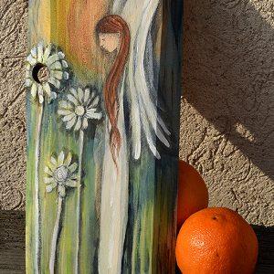 Anioł Rozkwitu - malowany ręcznie na drewnie, autor: Elka Ciępka| Angel painted on wood