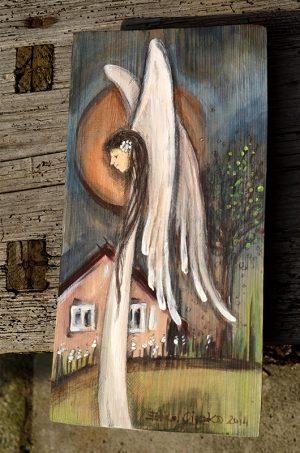 Anioł Szczęśliwego Domu - ręcznie malowany na drewnie| Angel painted on wood