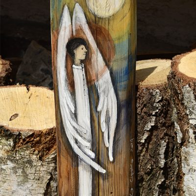 | Angel painted on wood