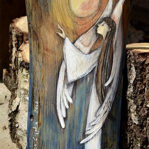 Anioł skąpany Słońcem - ręcznie malowany na drewnie| Angel painted on wood