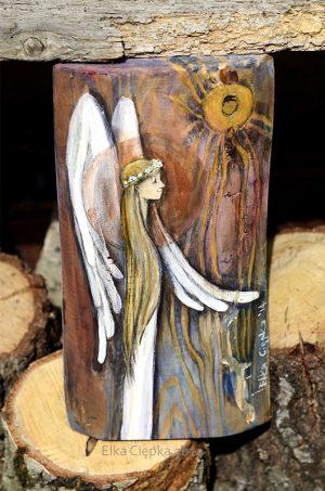 Anioł w Blasku Słońca - piękny prezent dla dziewczynki z okazji Pierwszej Komunii Świętej| Angel painted on wood
