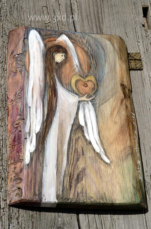 Anioł z Sercem na Dłoni - ręcznie malowany na desce| Angel painted on wood