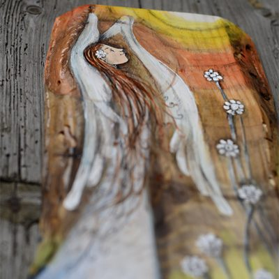 Anioł w Pełnym Blasku - malowany na desce| Angel painted on wood