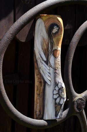 Anioł Serdeczności malowany na desce - prezent na każdą okazję| Angel painted on wood