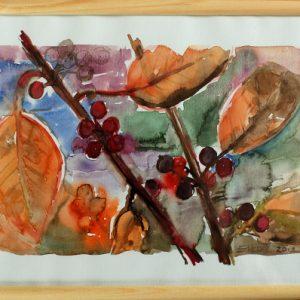 "akwarela ""Jesienna aronia"", autor: Elka Ciępka"