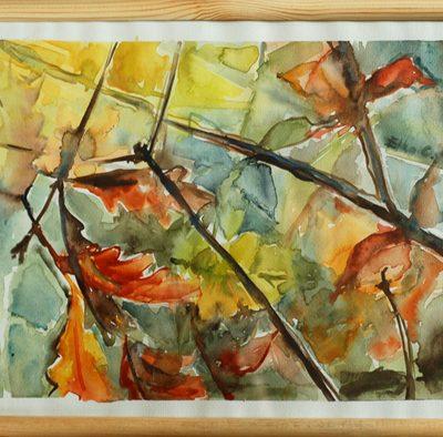 """akwarela """"Jesienna dąbrowa"""", autor: Elka Ciępka"""