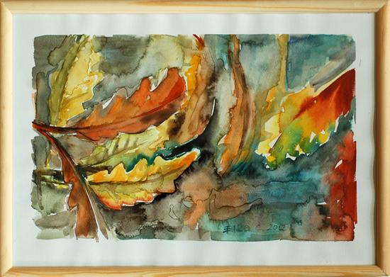 """akwarela - """"Jesienny zagajnik dębowy"""" autor: Elka Ciępka"""