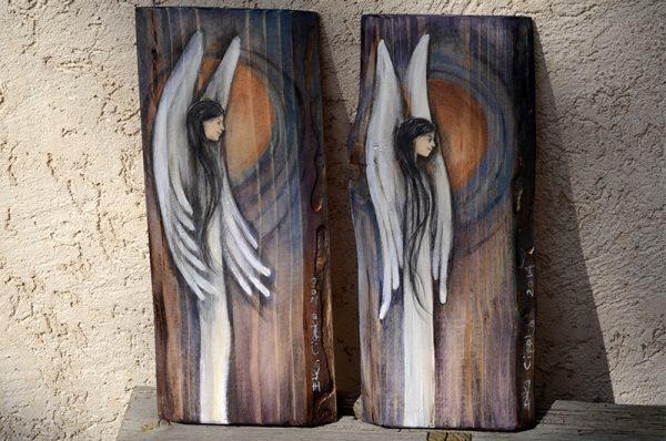 Anioły wdzieczności Eweliny i Marcina namalowane na zamówienie dla ich Rodziców