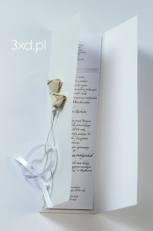 """Ręcznie robione zaproszenia ślubne """"RÓŻANY DUET"""" z kremowymi przestrzennymi różyczkami"""