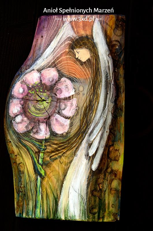 Anioł Spełnionych Marzeń - malowany na desce - oryginalny prezent dla Rodziców jako podziękowanie na weselu