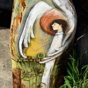 Anioł Szerokich Horyzontów - Anioł malowany na desce - oryginalny prezent dla chłopca na chrzciny lub I-szą komunię świętą