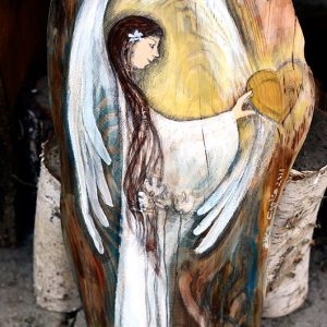 Anioł Dotyku Serca - Anioł malowany na drewnie najlepszy jako podziękowanie dla Rodziców od Pary Młodej na weselu.| Angel painted on wood