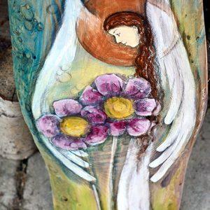 Anioł Towarzyszący przez Całe Życie | Ręcznie malowany na drewnie | Może stanowić prezent na chrzciny od chrzestnych| Angel painted on wood