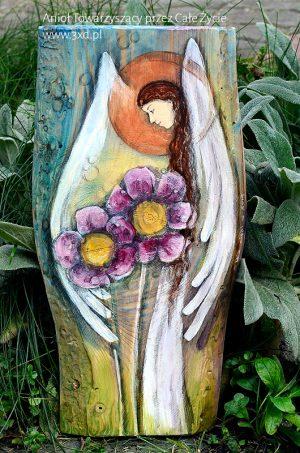 Anioł Towarzyszący przez Całe Życie   Ręcznie malowany na drewnie   Może stanowić prezent na chrzciny od chrzestnych  Angel painted on wood