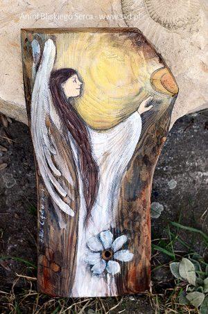 Anioł Bliskiego Serca - doskonałym prezentem dla Rodziców na weselu, jako podziękowanie za wychowanie| Angel painted on wood