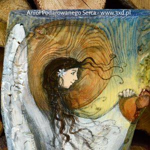 Anioł Podarowanego Serca malowany na drewnie - podziękowanie dla Rodziców od Pary Młodej na weselu| Angel painted on wood