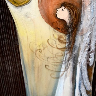 Anioł w Blasku Kochającego Serca to symbol wdzięczności dla kochającej i kochanej osoby lub osób| Angel painted on wood