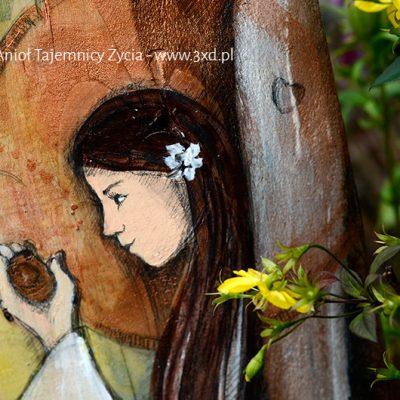 Anioł Tajemnicy Życia   Ręcznie malowany Anioł na desce   Oryginalny prezent na chrzciny np od chrzestnych lub z okazji narodzin dziecka  Angel painted on wood