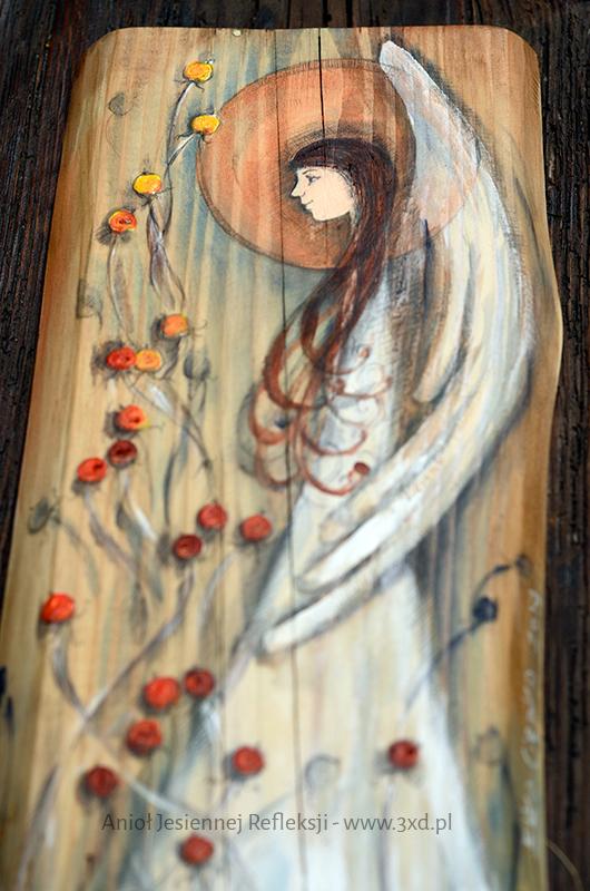 Anioł Jesiennej Refleksji pobudza do przemyśleń i zadumy. Może być anielskim prezentem dla każdego, kto potrzebuje refleksyjnego Anioła.| Angel painted on wood