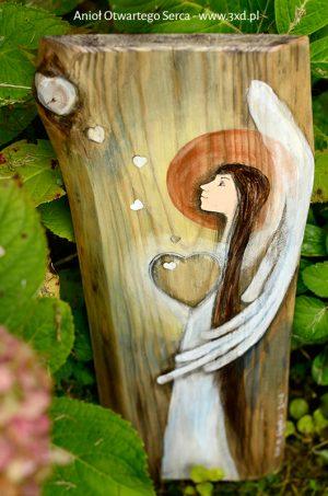 Anioł Otwartego Serca to wspaniały podarunek dla ludzi z otwartym sercem dla innych  Angel painted on wood