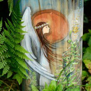 Anioł Kwiatu Paproci   Obrazek ręcznie malowany na drewnie   Prezent dla tego, komu potrzebny jest czar magicznego kwiatu  Angel painted on wood