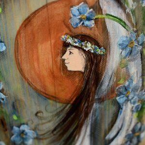 Anioł Niezapominajkowy | Ręczne malowanie na drewnie | Prezent dla tego, o kim nie zapomnieliście| Angel painted on wood