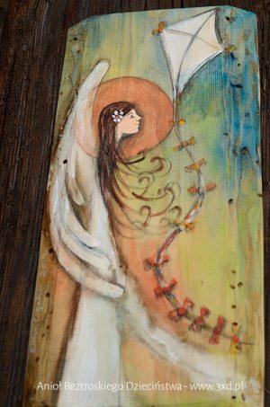 Anioł Beztroskiego Dzieciństwa to prezent i podziękowanie dla Rodziców od Pary Młodej w podzięce za beztroskie i szczęśliwe dzieciństwo| Angel painted on wood