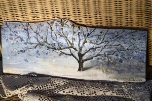 Zimowe drzewko | Obrazek ręcznie malowany na drewnie | Wysmakowany prezent na gwiazdkę lub pod choinkę| Tree painted on wood