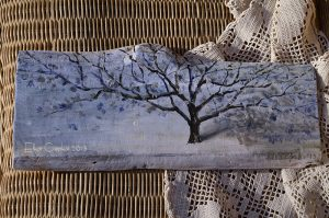 Zimowe drzewko | Obrazek ręcznie malowany na drewnie | Wysmakowany prezent na gwiazdkę lub pod choinkę
