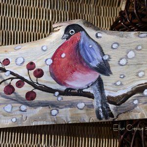 Gil zimową porą | Obrazek ręcznie malowany na drewnie | Doskonały prezent gwiazdkowy dla mężczyzny - samotnika albo zagorzałego kawalera | autor:: Elka Ciępka| Bullfinch painted on wood