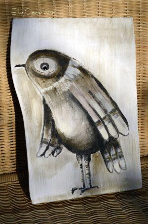 Ptaki Koloraki | Obrazek ręcznie malowany na drewnie | Prezent dla samotnika albo zagorzałego kawalera | autor: Elka Ciępka | Mr Bird| Bird painted on wood