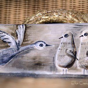 Ptaki Nieloty | Obrazek ręcznie malowany na drewnie | Prezent dla rodziny lub małżeństwa spodziewającego się potomstwa