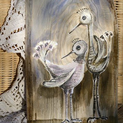 Ptasia Para | Stylizowany obrazek ręcznie malowany na drewnie | autor: Elka Ciępka