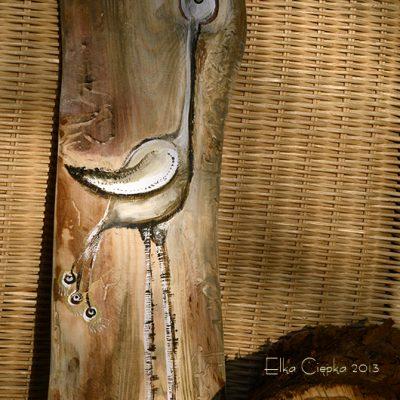 Żuraw - stylizowany obrazek ręcznie malowany na drewnie, autor: Elka Ciępka| Heron painted on wood