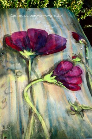 Cosmea purpurowa - malowana na drewnie