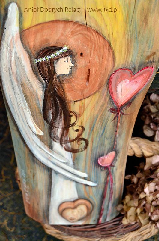 Anioł Dobrych Relacji | Oryginalny i niepowtarzalny Anioł ręcznie malowany na drewnie | Prezent ślubny lub podziękowanie dla Rodziców