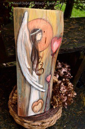 Anioł Dobrych Relacji | Oryginalny i niepowtarzalny Anioł ręcznie malowany na drewnie | Prezent ślubny lub podziękowanie dla Rodziców| Angel painted on wood