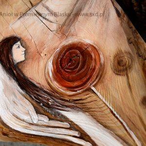 Anioł w Promiennym Blasku | Anioł ręcznie malowany na drewnie | Prezent dla tego, komu potrzeba Anielskiego promienia| Angel painted on wood