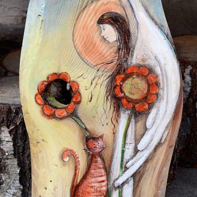 Anioł Powrotu do Dziecięcych Lat   Ręcznie Malowany na drewnie   Autor: Elka Ciępka  Angel painted on wood