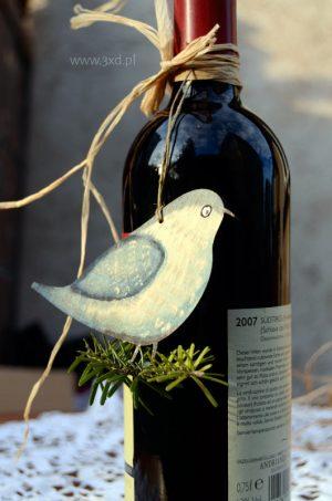 Ptaszek Błękitek - ozdoba i upominek ręcznie malowany