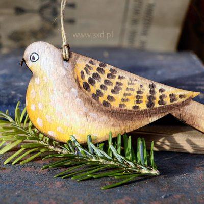 Ptaszek Wróblowaty - ozdoba i upominek ręcznie malowany