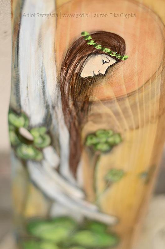 Anioł Szczęścia - Angel of Happiness painted on wood