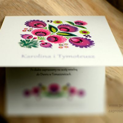 FOLKOWE zaproszenie ŁOWICKIE