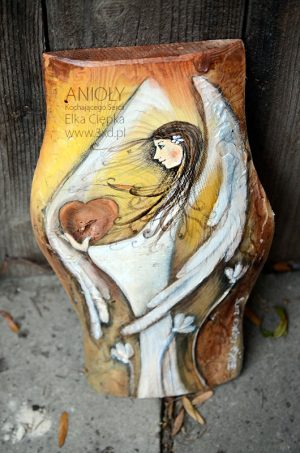 Anioł Kochającego Serca dla kochanej osoby - malowany na drewnie